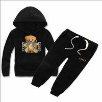 kız kazak ceketleri toptan satış-Erkek ve kız çocuk klasik lüks logo tasarımcısı bebek T-shirt pantolon ceket hoodie kazak olde Suit çocuk moda çocuk 2 parça co