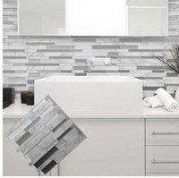 ingrosso piastrelle bianche per la cucina-Bianco Grigio Marmo Mosaico Peel e Stick Wall Tile Adesivo Backsplash Cucina fai da te Bagno Casa Adesivo Sticker Vinyl 3D