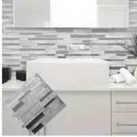 baño de azulejos de mosaico blanco al por mayor-Blanco gris mármol Mosaico pelar y pegar azulejo de la pared autoadhesivo Backsplash cocina DIY baño etiqueta de la pared etiqueta engomada del vinilo 3D