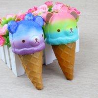 kawaii squishy rilakkuma venda por atacado-Squishy Jumbo 14 cm Kawaii Moleque Rilakkuma Gostoso Urso / Panda Ice Cream Super Lento Rising Strap Squeeze Pão Bolo de Brinquedo de Presente XB