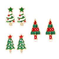 joyería de aleación de calidad al por mayor-3 Diseños de Mezcla de Moda de Alta Calidad Árbol de Navidad Pendientes Del Perno Prisionero Para Las Mujeres Joyería de Las Niñas Chapado En Oro de la Aleación CZ Rhinestone Pendiente