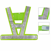 Wholesale safety harness vest resale online - Reflective Vest V Shaped Safety Waistcoat Reflective Light emitting Vest For Traffic Running Camping Outdoor Safety Clothing High Visibility