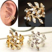 Wholesale golden ear cuffs - 1PC Retro Crystal Earings Rhinestone Leaf Ear Cuff Warp Clip For Women's Ear Jewelry Silvery Golden