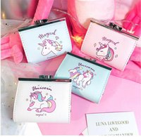 Wholesale Small Leather Pocket Change Holder - Unicorn Magical Button Coin Wallet Cartoon Hasp PU Leather Card Holder Change Money Bag Clutch Purse Small Pocket Creative Students AAA81