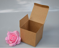 Wholesale Paper Coated - Qi 13sizes cube kraft paper gift box square brown kraft cardboard box for packaging natural jewelry birthday gift