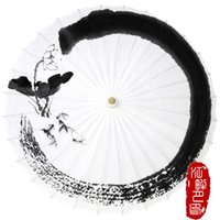 Wholesale fish paper roll - Pure White Color Bottom Oil Paper Umbrella Lotus Flower with Fish Paper Parasol Chinese Ink Calligraphy Art Show Umbrella