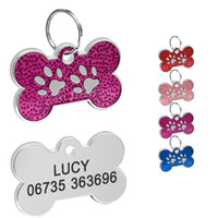 Wholesale dog bone accessories for sale - Engraved Dog ID Tag Bone Shape Personalized Anti lost Cat Puppy Tags Pet Collars Pendant Accessories Dog Name Tags
