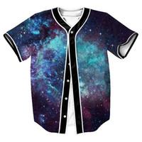 4a86d139 New Galaxy Space Jersey Overshirt Baseball Shirts Single Breasted Buttons  Men's T-shirt Tee 3D Print Summer Shirt Hip Hop Streetwear Top