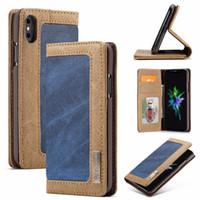 iphone jeans case toptan satış-Toptan Retro Vintage Kot Kapak Için iPhone Xs Max Tuval Deri Kredi Kartı Cüzdan Flip Case iPhoneX XR Durumda Kovboy Tarzı