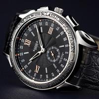 мужская стрелка для часов оптовых-Мужчины Марка Бизнес-Часы Luxury Fashion Watch Тонкий дизайн мужской Военный Две иглы Кварцевые Наручные Часы кожаные часы Текстура водонепроницаемый