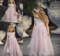Wholesale Daughter Wedding Dress - 2018 Cheap Lovely Pink Jewel Neck Long Lace Boho Flower Girl Dresses Daughter Toddler Pretty Kids Pageant First Holy Communion Gown