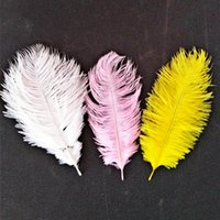 decoração rosa da mesa do casamento venda por atacado-Pena Decoração Do Bolo 19.5 * 10 cm Pena de Avestruz Plume Azul Rosa Roxo Decoração de Mesa de Casamento Favor de Partido Cor Pura 1df bb