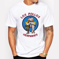 рубашка los pollos hermanos оптовых-Мужская мода Breaking Bad Shirt LOS POLLOS Hermanos T Shirt Chicken Brothers с коротким рукавом Tee Hipster горячие продажа топы