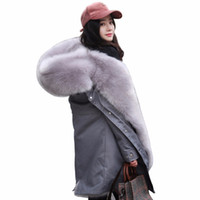 abrigo de piel de talla grande al por mayor-Mujeres abrigo de piel de zorro 2018 invierno nuevo cálido color de rosa forro de piel de gamuza Camo grueso chaqueta con capucha Parka Plus Size prendas de abrigo PJ313