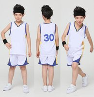 Wholesale Competition Dresses - Kids Warriors Team No. 30 Curry Basketball Dress Set Kids Competition Training Appearances Jerseys basketball suit Golden State Los Angeles