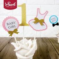 Discount happy birthday cute girl - 1 pack Happy Birthday Party Baby Boy Baby Girl First Year Birthday Insert Cards with Plasticstick Decorations Lovely Cute Gifts