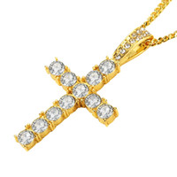 Wholesale jewellery crosses necklace - Hip Hop Men Fashion Jewelry Stainless Steel Cross Pendant Necklace Full Rhinestone Design Gold Silver Color Chain Jewellery Men Necklace