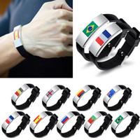 Wholesale bracelet accessories for women online - Russia World Cup Multinational Flag Bracelet for Men Women Football Fans silicon Wristband Male Bracelets Fashion Accessories GGA322