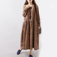 Wholesale Coffee Brown Dress - Spring Autumn Dresses for women Loose Flower print Maxi drese Plue size Cotton linen Coffee red and blue colors