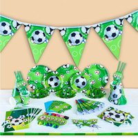 Wholesale Theme Party Supplies Wholesale - Kids World Cup Sports Football Theme Birthday Party Supplies Tableware Set Napkin Cups Tablecloth Flag Kids Favor Christmas Toy OOA4912
