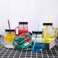 Wholesale wholesale color glass jars - 450ML Glass Cup storage bottle Jars Mason Jar Mug Beverage Mug With Lid Straw Juice Bottle With Handle Free DHL 0498
