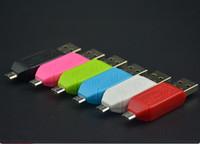 adaptador de doble ranura al por mayor-2 en 1 USB macho a micro USB Adaptador OTG de doble ranura con lector de tarjetas de memoria TF / SD para Android Smartphone Tablet Samsung