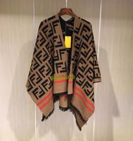 Wholesale wool capes cloaks online - high end ff Women Tassel Blouse Knitted Coat Sweater Vintage Wraps wool Knit Scarves Tartan Winter Cape Grid Shawl Cardigan Cloak sweater
