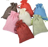 Wholesale natural jute bags for sale - Group buy 50pcs New Brand Vintage Natural Burlap Hessia Gift Candy Bags Wedding Party Favor Pouch Jute Gift Bags