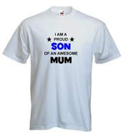 oğlu t gömlekleri toptan satış-Gururlu oğlu müthiş anne t-shirt komik komik tişörtlü çocuklar gün t shirt mevcut s-xxl