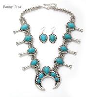brincos de rastreamento venda por atacado-Bohemia pedra sintética declaração choker colar para mulheres liga étnica crescente pingente choker collar moda jóias set