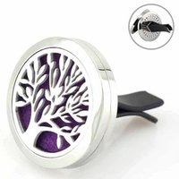 Wholesale Perfume Life - Car Perfume Clip Tree of Life Magnet Diffuser 30mm Stainless Steel Car Air Freshener Conditioning Vent Clip OOA3951