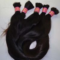 ingrosso pollici fasci brasiliani-100g di capelli brasiliani intrecciati alla rinfusa senza trama brasiliana dei capelli lisci alla rinfusa per intrecciare 1 pacchetto da 10 a 26 pollici estensioni dei capelli di colore naturale