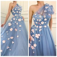 Wholesale flower girl dress evening gown for sale - Group buy 2019 One Shoulder Tulle Prom Dresses Handmade Flowers Adorned Spring Celebrity Party Gowns Yong Girls Formal Wear Evening Gowns