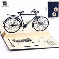 Wholesale vintage birthday greeting cards - Wholesale- 3D pop up handmade laser cut vintage cards Vintage bike creative gifts postcard birthday greeting cards for lovers