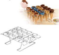 Wholesale cooler racks - Diy 16 Slots Ice Cream Displaying Baking Cake Sugar Cone Cupcake Cooling Rack Holder Stand For Birthday Wedding Party