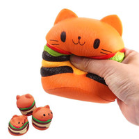 Wholesale home bread - 10CM Squishy Hamburger Cat Cake Squeeze Toy Slow Rising Stretchy Phone Squishy Bread Kids Toy Home Decoration