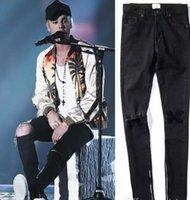 schwarze skinny jeans mode männer großhandel-Neue heiße Mode 2018 Fear of God FOG Reißverschlüsse Skinny Slim Fit Herren Distressed Justin Bieber schwarzer Baumwolle Denim Jeans Männer Jean