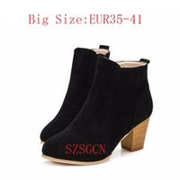 Wholesale sexy platform ankle boots - SZSGCN-Fashion Ankle Boots for Women 2018 Round Toe Boots Spring Autumn High Heels Platform Shoes Woman Zip Sexy Women Boots