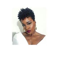 perucas ruivas cacheados crespos venda por atacado-Quente curto kinky curly peruca brasileira cabelo africano Ameri simulação cabelo humano curto corte encaracolado peruca para as mulheres em grande estoque