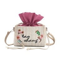 canvas string bag 2018 - 2018 New Woven Bag Flowers Straw Bag Leisure Vacation Tote Beach For Women Luxury Handbags Designer small shoulder