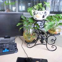 los titulares de almacenamiento de hierro al por mayor-Decoración de jardín creativa almacenada Estante de flores de hierro Soporte de maceta de 3 niveles Estilo de piso Estante de maceta Plantas Estante Escritorio Plantas Almacenamiento