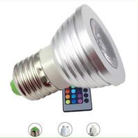 Wholesale mr16 rgb bulb online - LED RGB Bulb Color Changing W LED Spotlights RGB led Light Lamp E27 GU10 MR16 with Key Remote Control V V