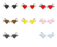Wholesale Punk Sunglasses - 8colors Vintage Punk Triangle Sunglasses Women Men Metal Frame Black Red Yellow Pink outdoor Sun Glasses GGA248