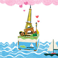 Wholesale tower puzzles resale online - DIY Handmade Dollhouse With Music Box Rotatable Miniature Puzzle Model Eiffel Tower Creative Gift Toy For Friends Kids AM308 E