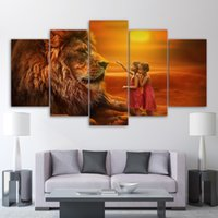 Wholesale photo lions - Abstract Photo Wall Modular 5 Piece Lion in Golden Sunset Pictures For Living Room Decorative Frame HD Poster Canvas Print Paint