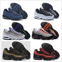 en iyi çalışan tenis ayakkabıları toptan satış-Hava Sporları 95 Koşu Ayakkabıları Yüksekliği Kaliteli Hava Sporları Mens Siyah Erkekler en iyi Atletik yürüyüş Tenis Ayakkabıları Gri Adam Eğitim Sneakers