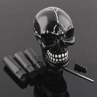 ingrosso bastone nero auto-Skull Head Universal Car Truck Pomello leva del cambio manuale leva cambio Shifter nero