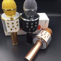 venda orador karaoke venda por atacado-Único-peça WS-858 Sem Fio Bluetooth Karaoke Microfone De Mão USB KTV Player Bluetooth Microfone Speaker Music Record Microfones Venda Quente