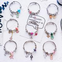 Wholesale string crystals beads for sale - Group buy DIY beads string crystal hand chain bracelet adjustable stainless steel bracelet ladies Pandora Style Beads Bracelet Women s Bangle