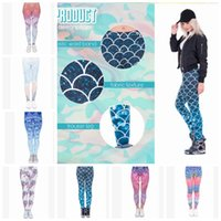 Wholesale yoga pants women designs online - 13 design Women Leggings Yoga Pants Mandala Flower D Printing Mermaid Slim Finess Running Workout Sports Legging Tights Trousers KKA5130